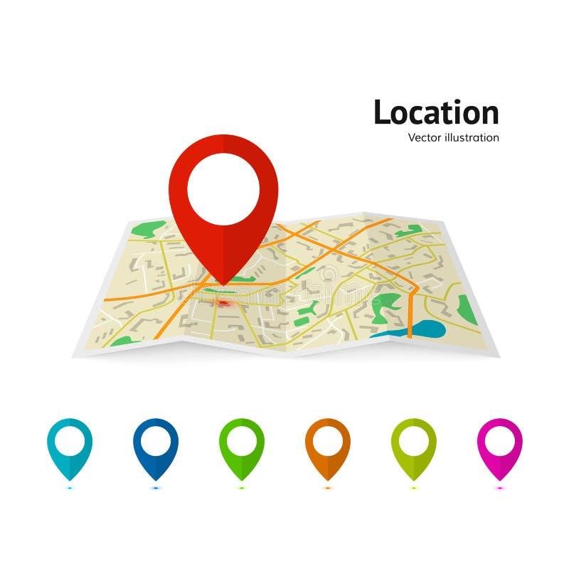 Uppsättning av markörpekaren på översikt Översiktsvektorillustration Modernt kretsschema för planstiftpekare GPS navigeringsystem vektor illustrationer
