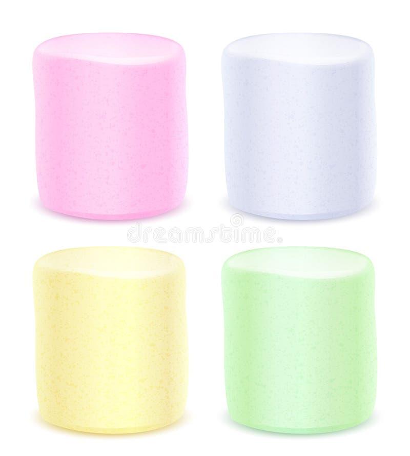 Uppsättning av marshmallower - färgad pastell stock illustrationer