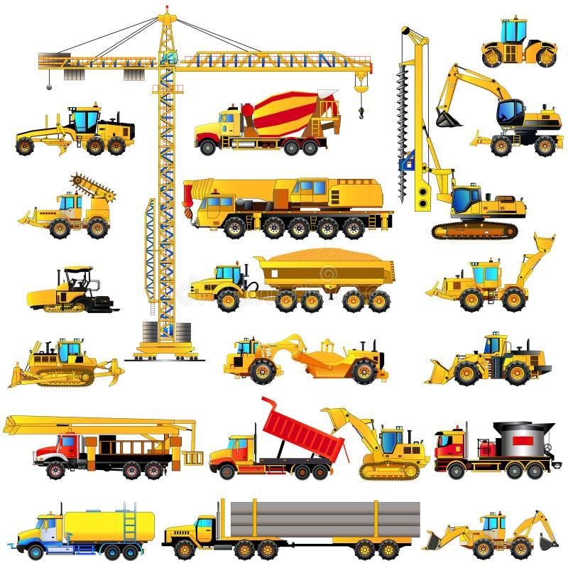 Uppsättning av maskiner för tung konstruktion, symboler som isoleras, vektor stock illustrationer