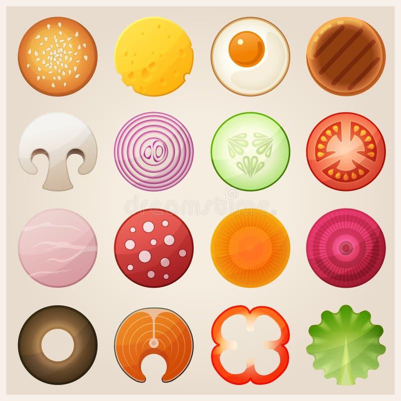 Uppsättning av mat byter ut lätta symboler för bakgrund den genomskinliga vektorn för skugga vektor illustrationer