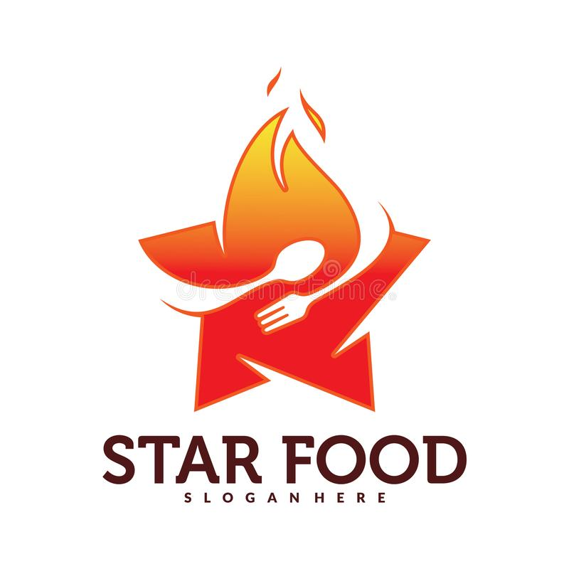 Uppsättning av mat med stjärnan Logo Vector stock illustrationer