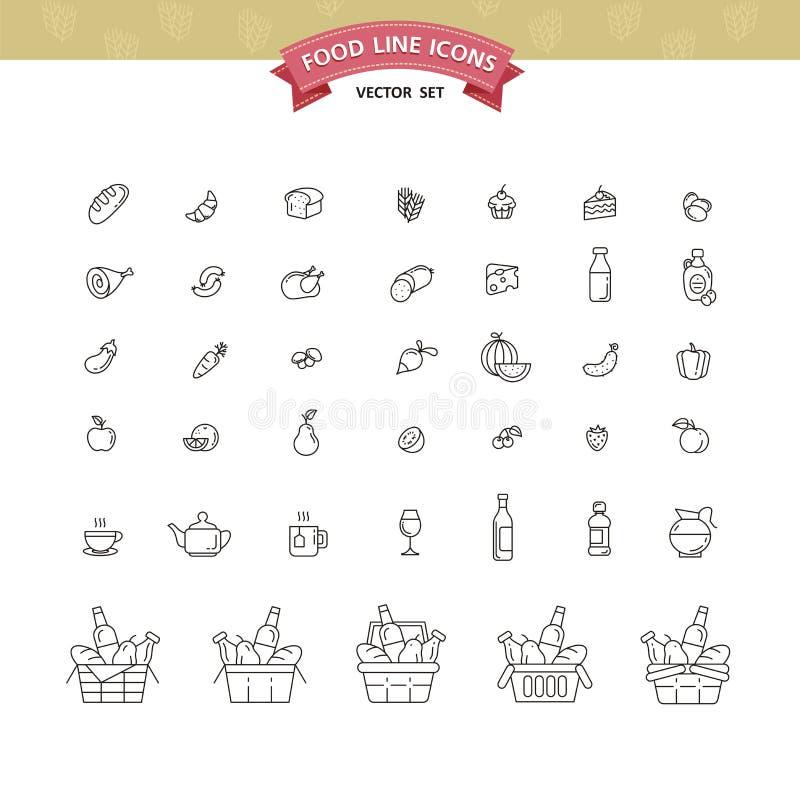 Uppsättning av mat- och drinksymboler för restaurangen, livsmedelsbutik, comm stock illustrationer