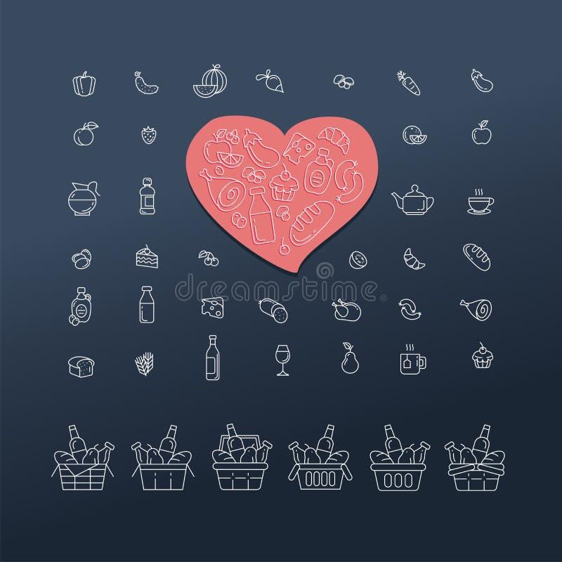 Uppsättning av mat- och drinksymboler för restaurangen, livsmedelsbutik, comm royaltyfri illustrationer