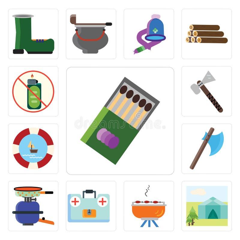 Uppsättning av matcher, tält, grillfest, första hjälpensats, kruka, yxa, flöte, royaltyfri illustrationer