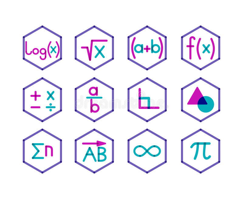 Uppsättning av 12 matematiksymboler stock illustrationer
