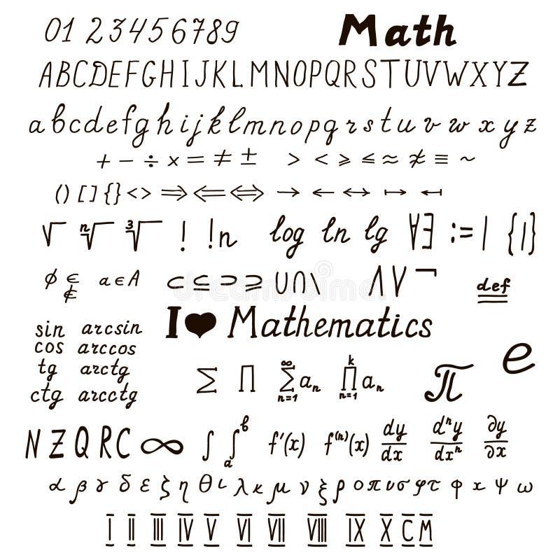 Uppsättning av matematiskt tecken och symboler royaltyfri illustrationer