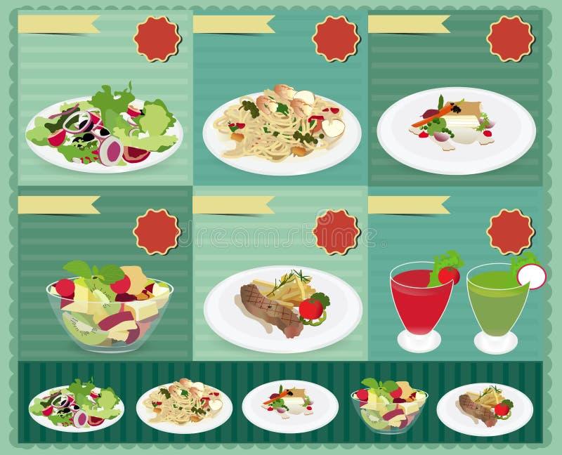 Uppsättning av matmenyn, sallad, räkan och spagetti, Fis stock illustrationer