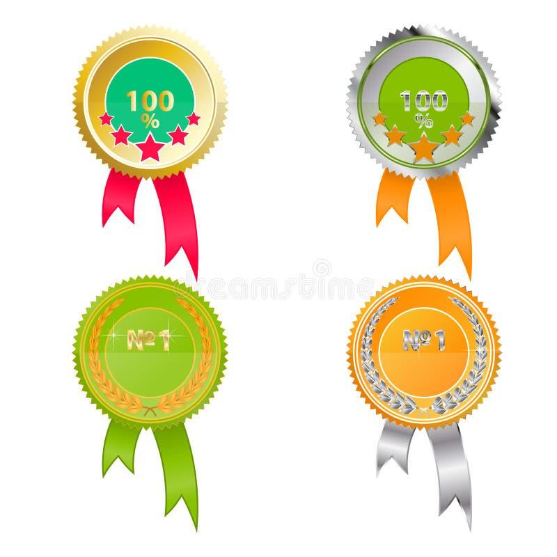 Uppsättning av medaljer av kvalitet Ljust - gräsplan- och apelsinfärger med guld och silver vektor illustrationer