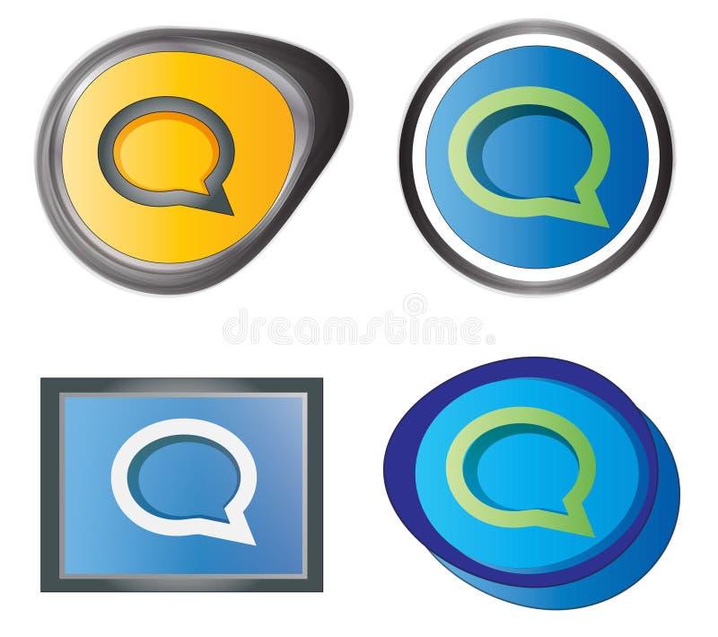 Uppsättning av meddelandesymboler vektor illustrationer