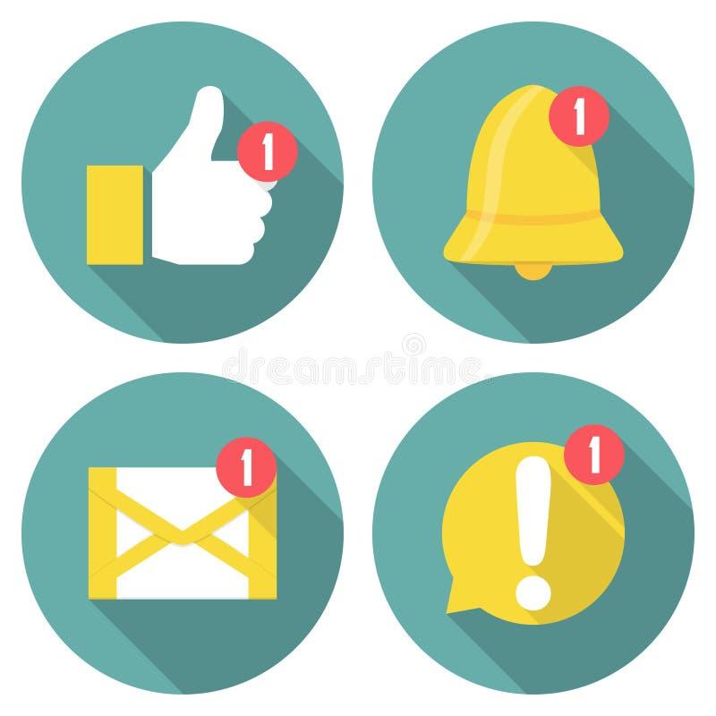 Uppsättning av meddelandesymboler i en plan design med lång skugga royaltyfri illustrationer