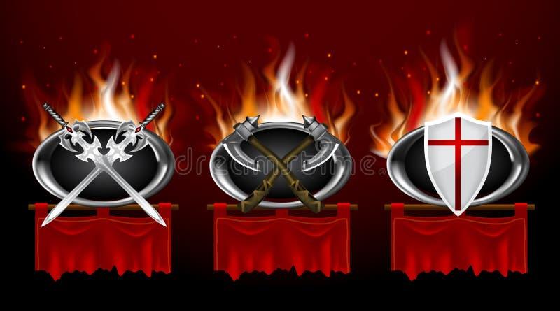 Uppsättning av medeltida logoer och röda sönderrivna foldetbaner Realistisk modig stil vektor illustrationer