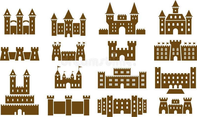 Uppsättning av medeltida slottar royaltyfri illustrationer