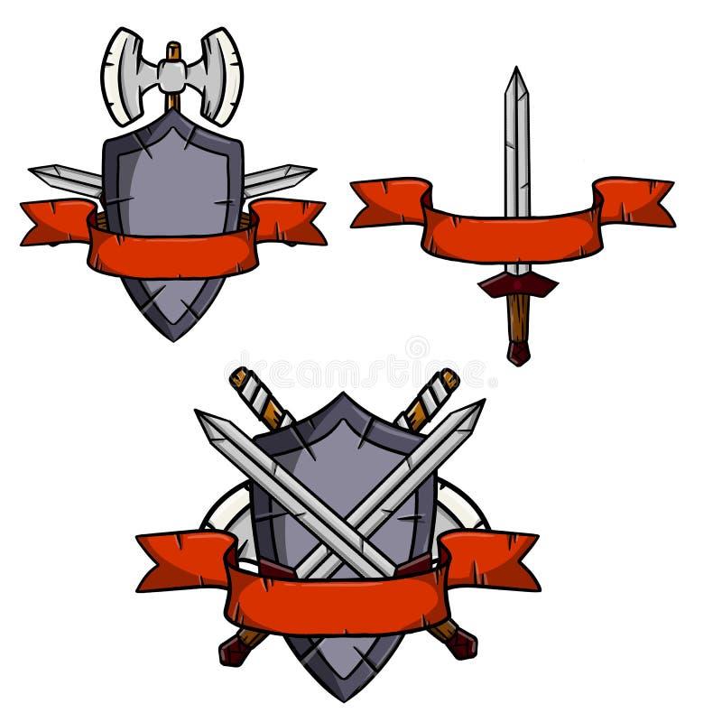 Uppsättning av medeltida vapen och harnesk vektor illustrationer