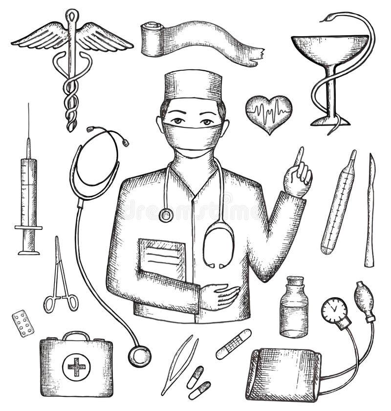 Uppsättning av medicinska förnödenheter royaltyfri illustrationer