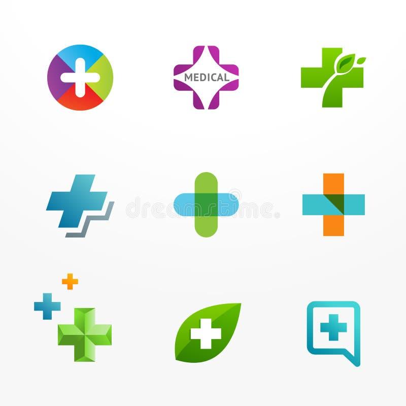 Uppsättning av medicinska logosymboler med korset och plus royaltyfri illustrationer