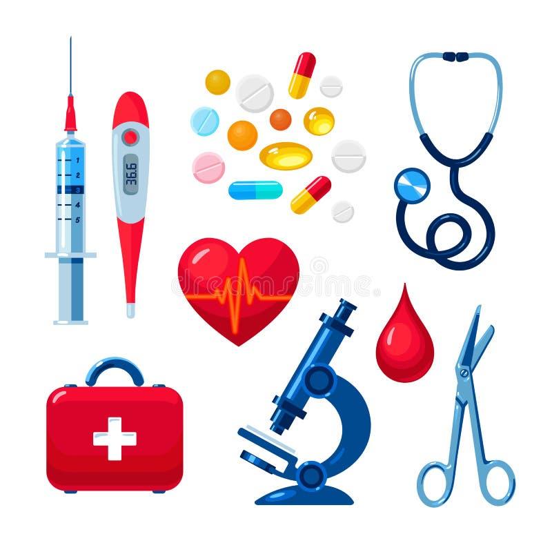 Uppsättning av medicinska symboler, färglägenhet vektor illustrationer