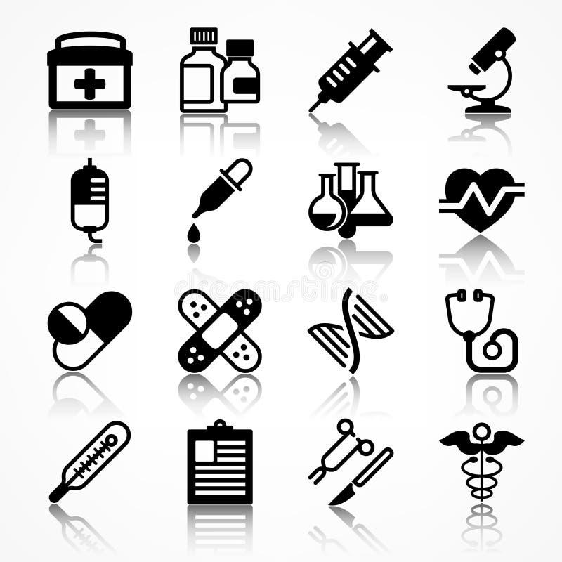 Uppsättning av medicinska symboler med skugga royaltyfri illustrationer