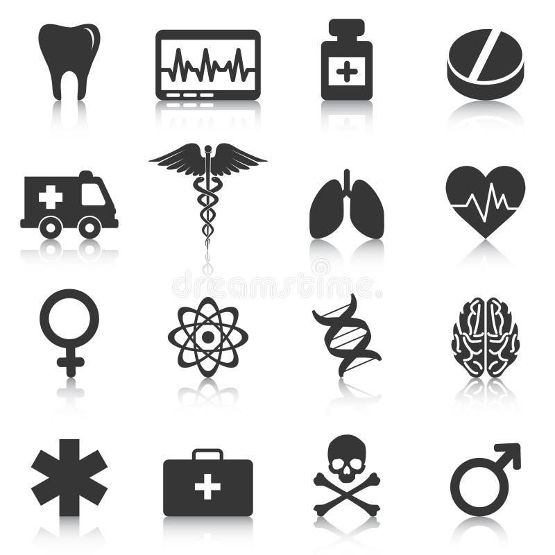 Uppsättning av medicinska symboler, sjukvård, apotek också vektor för coreldrawillustration stock illustrationer