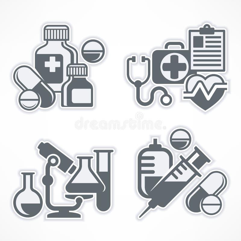 Uppsättning av medicinsymboler vektor illustrationer