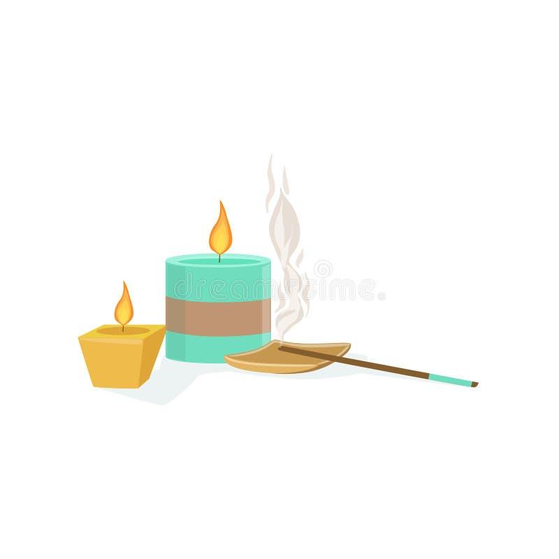 Uppsättning av Meditaion orientaliska garneringar med parfymerade stearinljus och att röka pinnebeståndsdelen av Spa mitthälsa oc royaltyfri illustrationer