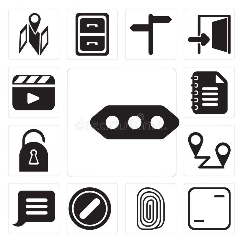 Uppsättning av mer, ram, fingeravtryck som förbjudas, meddelande, Placeh royaltyfri illustrationer