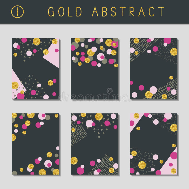 Uppsättning av metalliska abstrakta broschyrer stock illustrationer