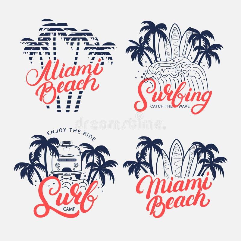Uppsättning av Miami Beach och att surfa skriftlig bokstäver för hand vektor illustrationer