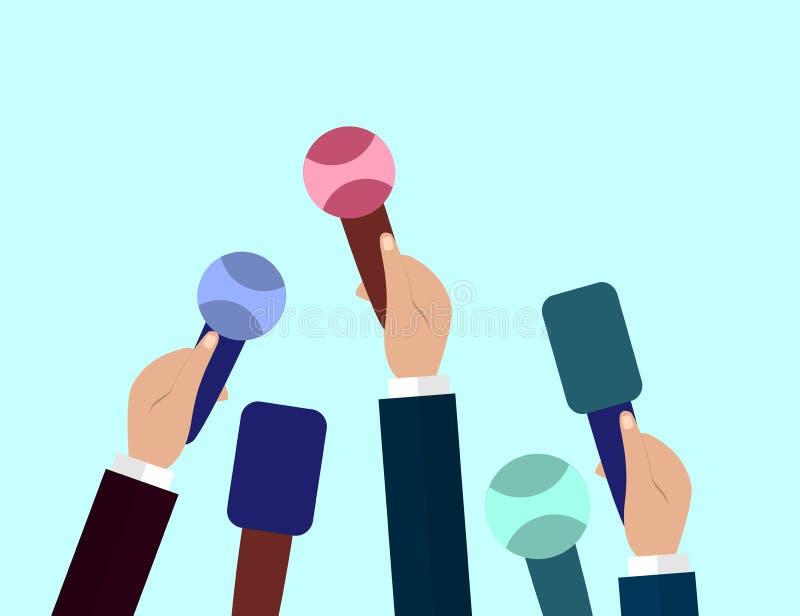 Uppsättning av mikrofoner Journalistikbegrepp, massmedia, TV, intervju, breaking news, presskonferensbegrepp Mikrofoner i reporte stock illustrationer