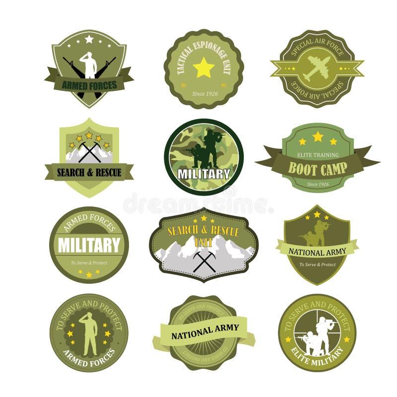 Uppsättning av militär- och krigsmaktemblem stock illustrationer