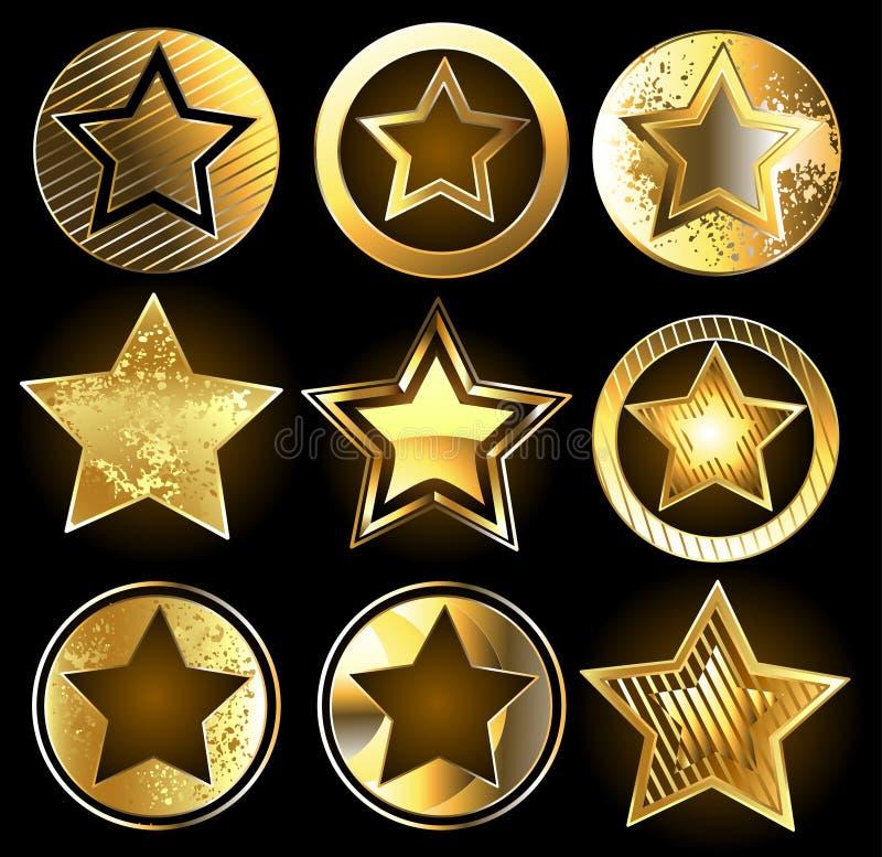 Uppsättning av militära guld- stjärnor royaltyfri illustrationer
