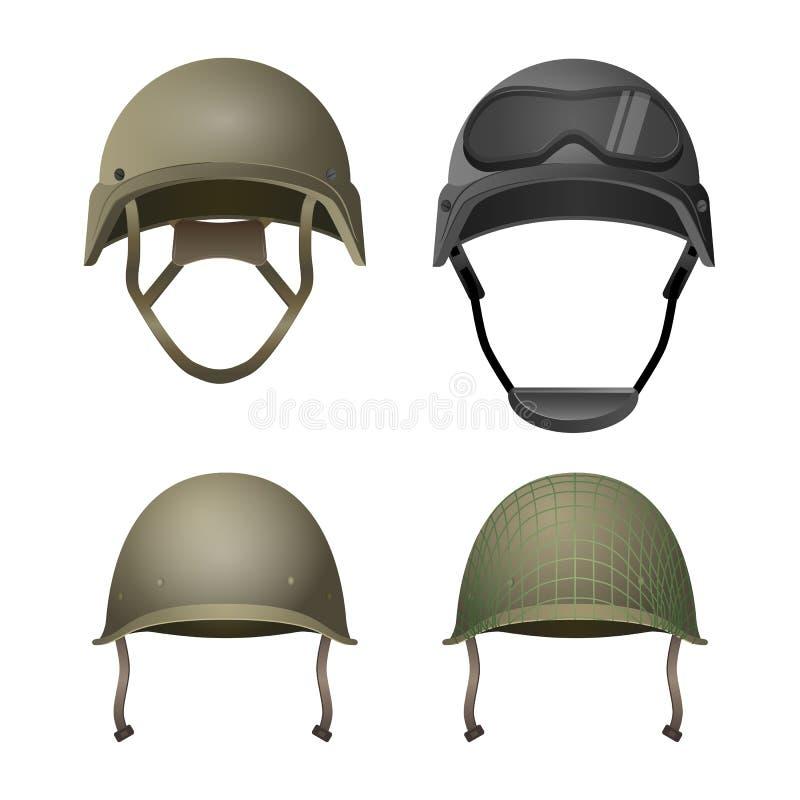 Uppsättning av militära hjälmar Klassiskt med skyddsglasögon-, strid- och projektionslinjer vektor illustrationer