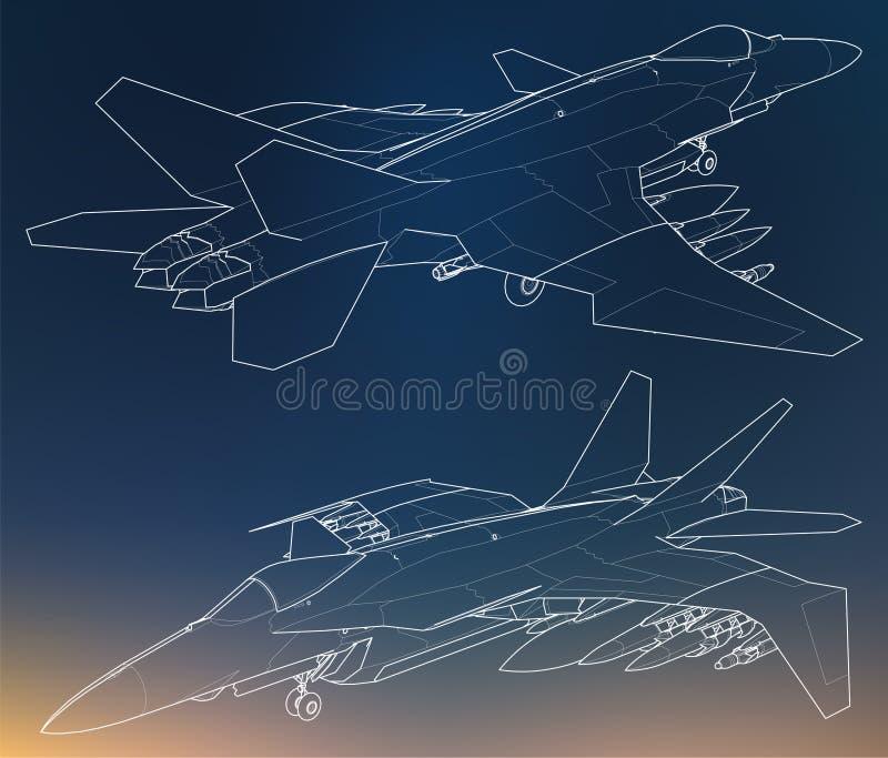 Uppsättning av militära konturer för strålkämpe Bild av flygplan i konturteckningslinjer royaltyfri illustrationer