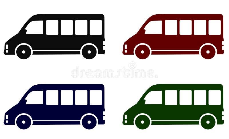 Uppsättning av minibusssymboler stock illustrationer