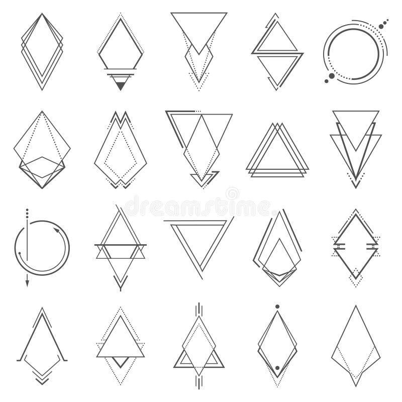Uppsättning av minimalistic geometriska beståndsdelar royaltyfri illustrationer