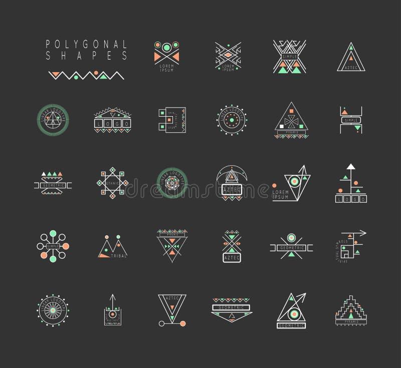 Uppsättning av minsta geometriska former vektor illustrationer