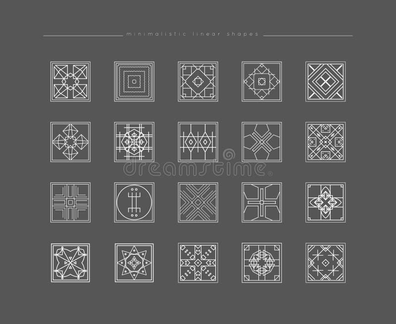 Uppsättning av minsta geometriska former royaltyfri illustrationer