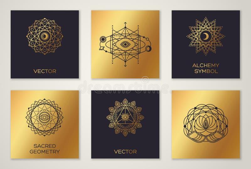 Uppsättning av minsta geometriska former för sakral geometri stock illustrationer