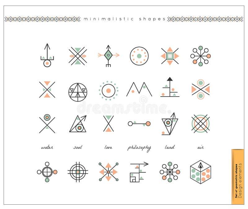 Uppsättning av minsta geometriska monokromformer royaltyfri illustrationer