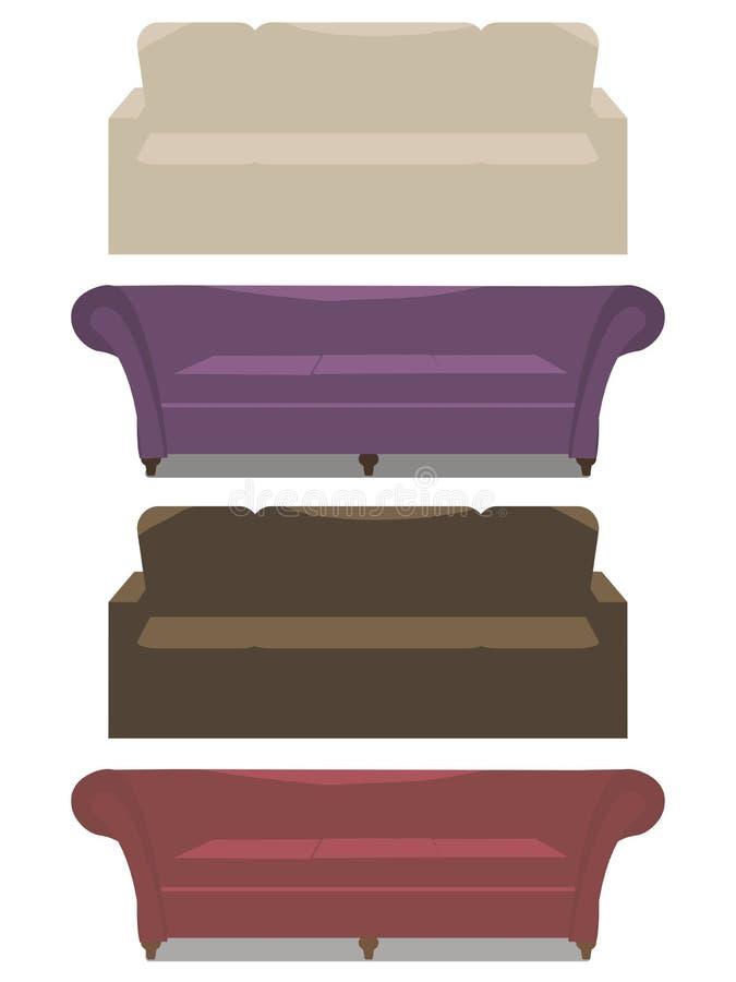 Uppsättning av mjuk soffa för vektor med för lilabrunt för armstöd beige läder och rött som isoleras på vit bakgrund stock illustrationer