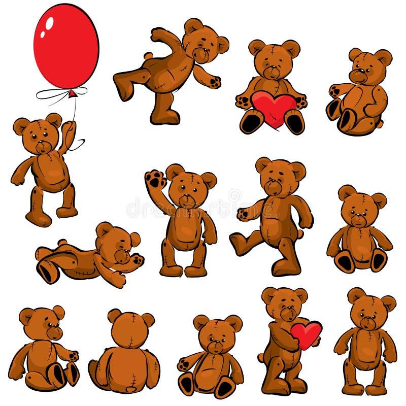 Uppsättning av mjuka toys-björnar för tappning stock illustrationer