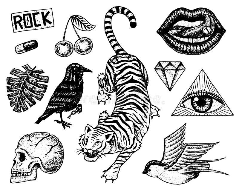 Uppsättning av modelappar Tatueringkonstverk för flickor Tiger och kanter, skalle och öga i triangeln inristad hand som in dras royaltyfri illustrationer