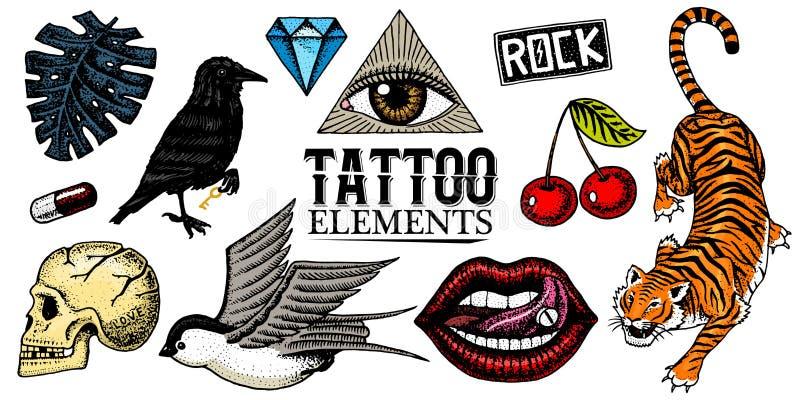 Uppsättning av modelappar Tatueringkonstverk för flickor Tiger och kanter, skalle och öga i triangeln inristad hand som in dras vektor illustrationer