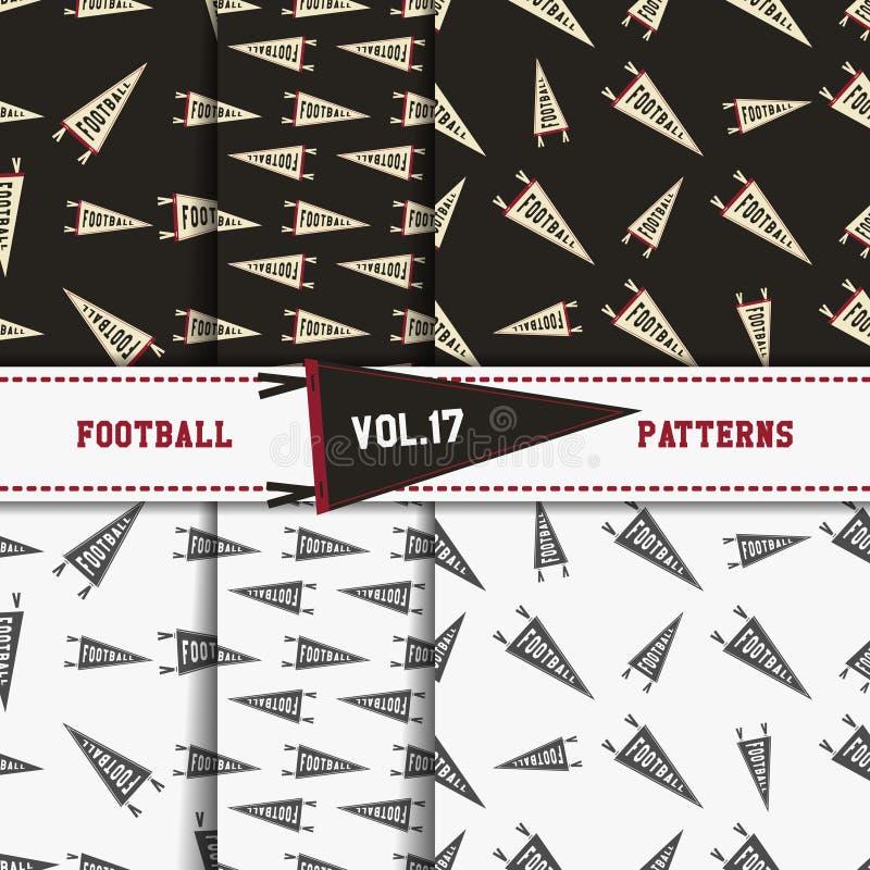 Uppsättning av modeller för amerikansk fotboll USA-sportar stock illustrationer