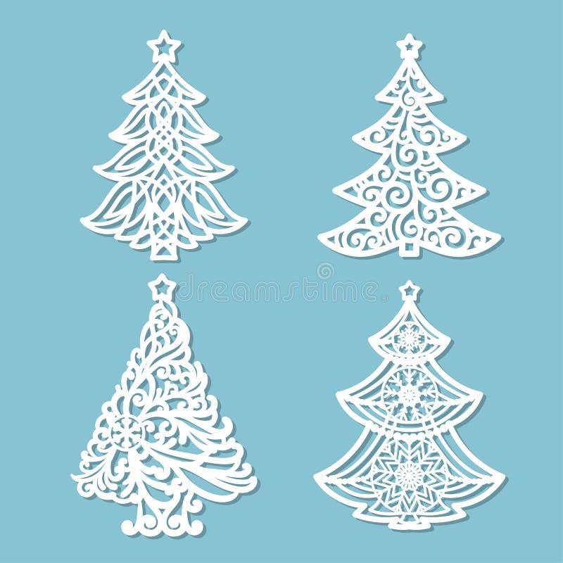 Uppsättning av modeller för laser-klipp jul min version för portföljtreevektor royaltyfri illustrationer