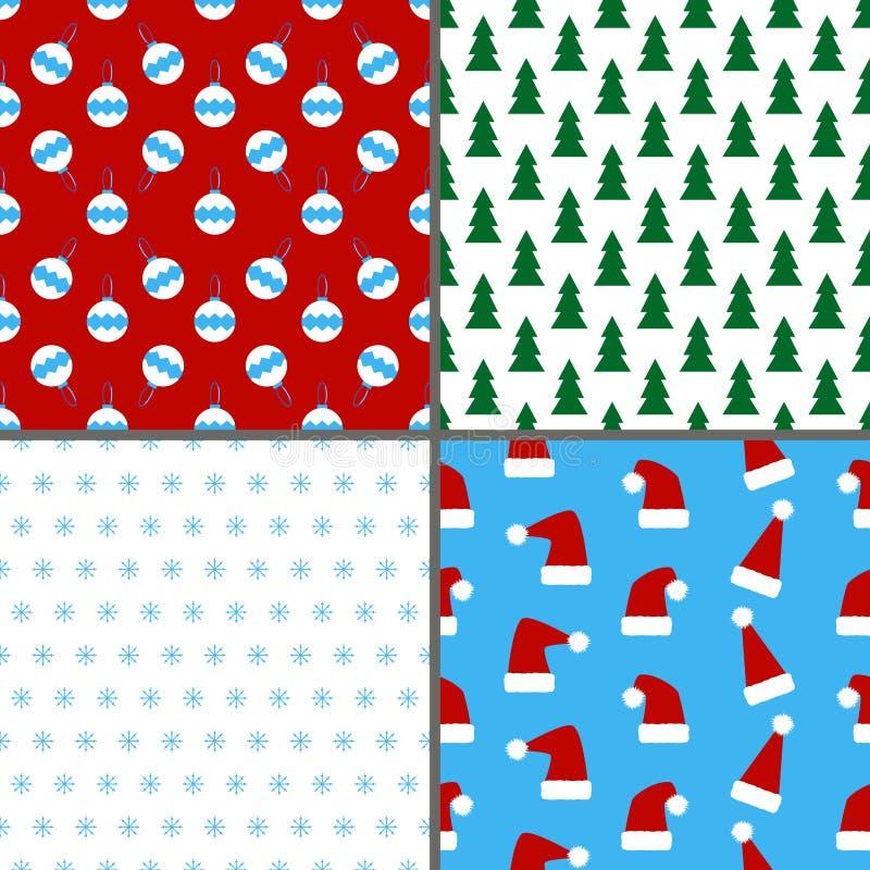 Uppsättning av modeller för sömlös färgrik jul och för nytt år vektor illustrationer