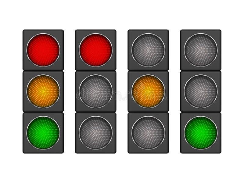 Uppsättning av modern ledd trafikljus 4 med olik följd av swien vektor illustrationer