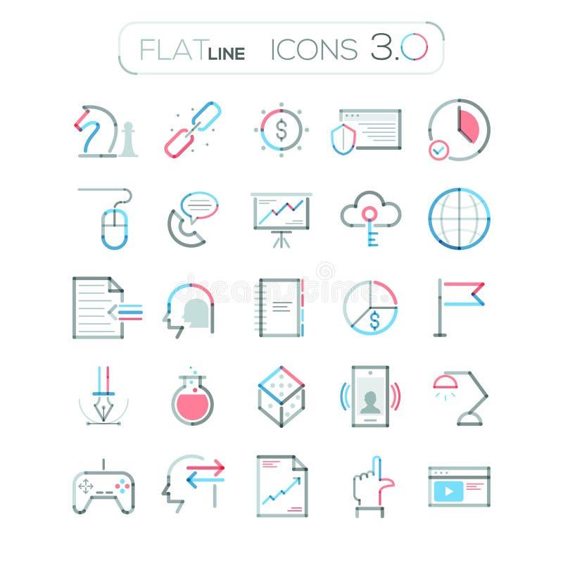 Uppsättning av 25 moderna affärssymboler vektor stock illustrationer