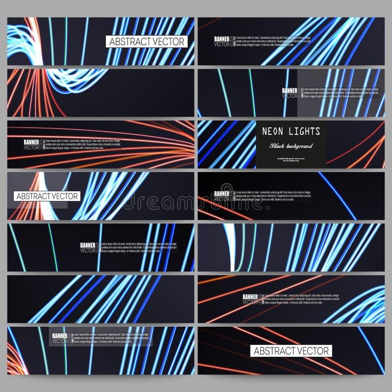 Uppsättning av moderna baner Abstrakt begrepp fodrar bakgrund, illustration för rörelsedesignvektor royaltyfri illustrationer