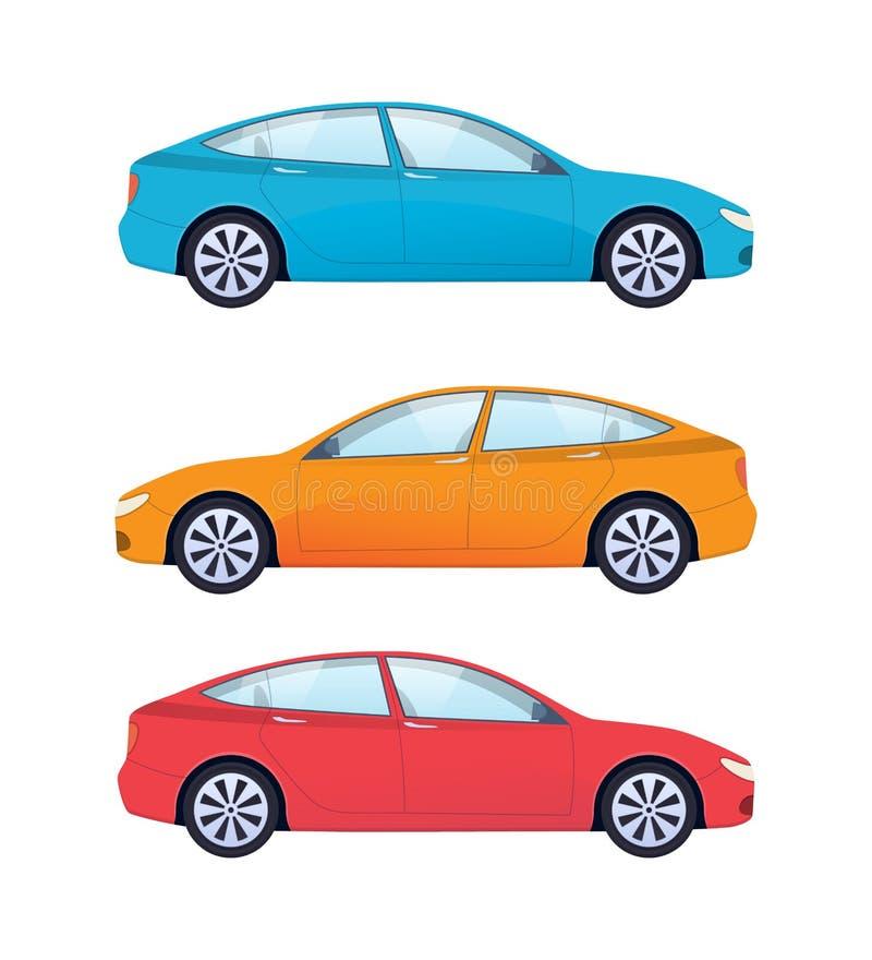 Uppsättning av moderna bilar för familj, arbete, fritid och dagligt bruk royaltyfri illustrationer