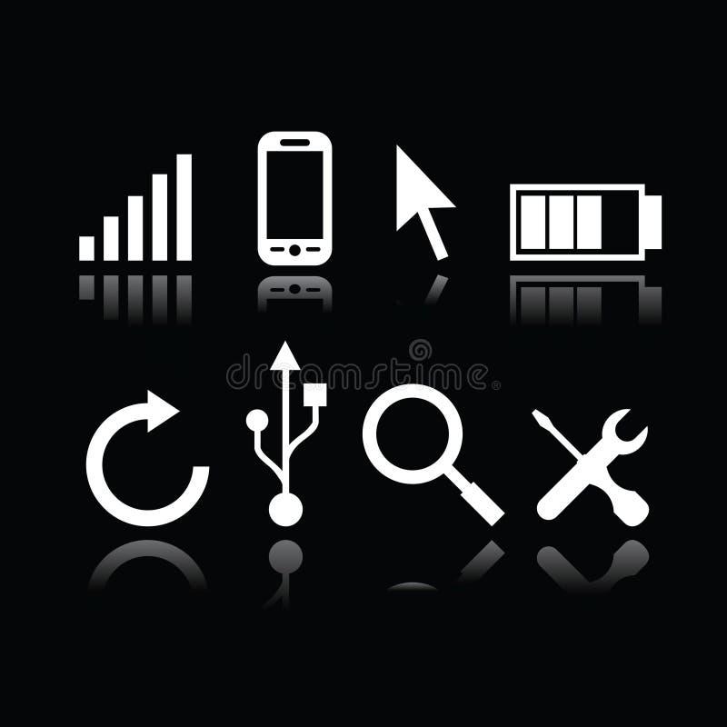 Uppsättning av moderna grejsymboler stock illustrationer